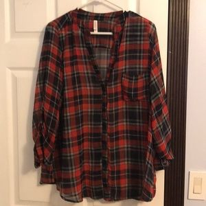 Blue and red flannel pattern sheer top